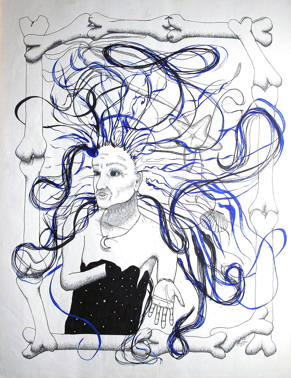 Old woman with crazy hair and sea imagery. Black and white with blue highlight.