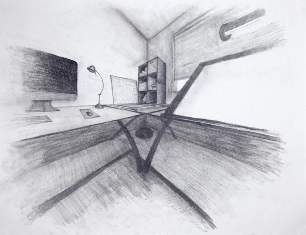 Pencil drawing of an office or artist's space with a cat in the corner