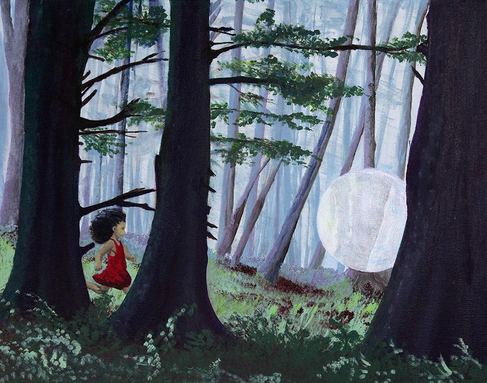 Painting of a young girl chasing a light through the woods.