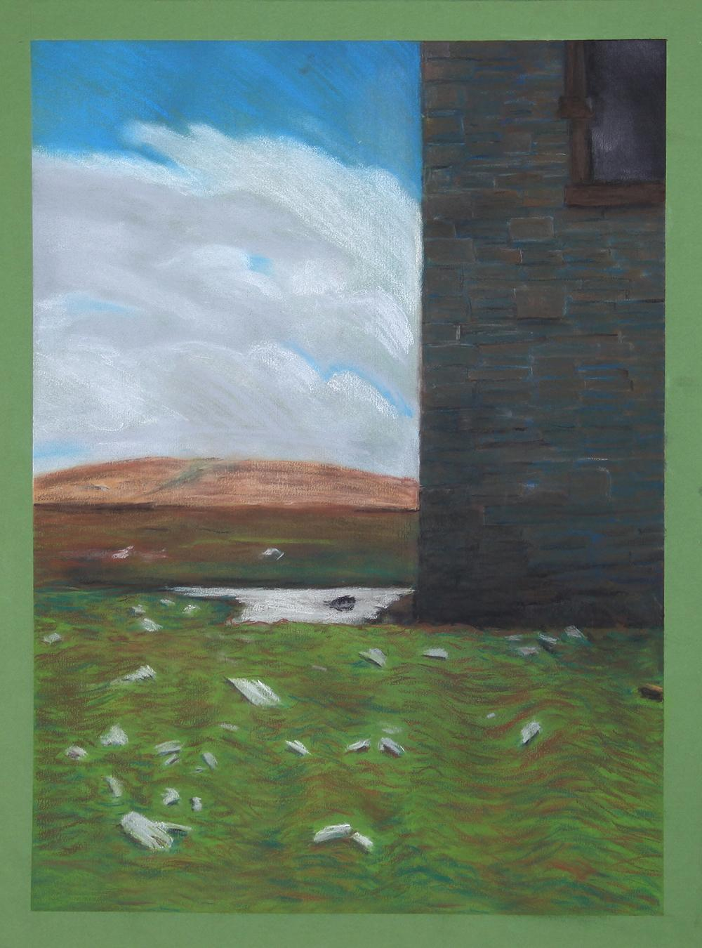 A old tower with sky, peat moss bog, and water,