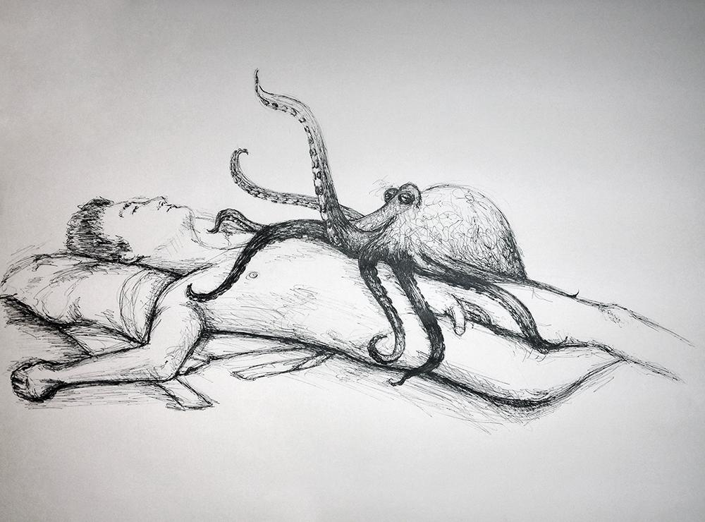 Pen and ink drawing of a nude man lying on his back with an octopus
