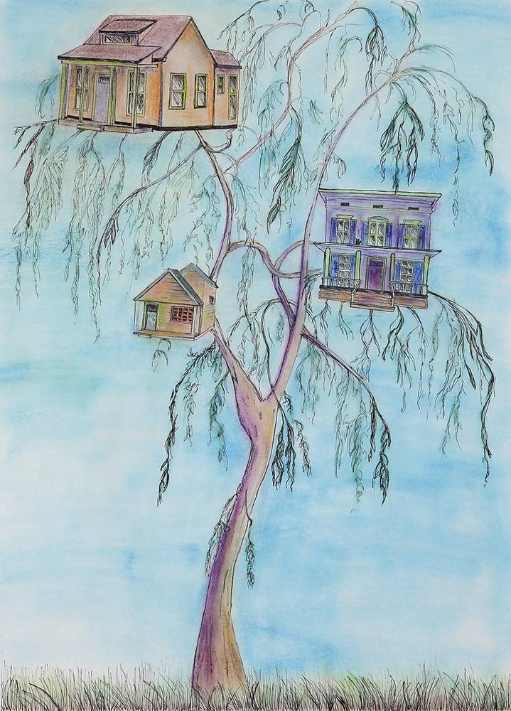 Whimsical three houses in a tree.