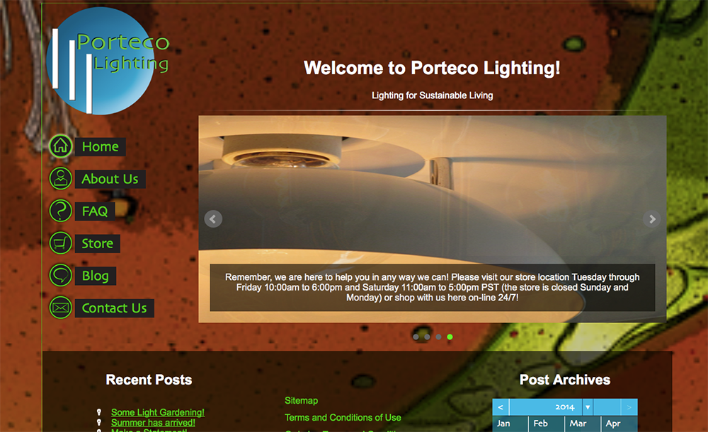Screen grab of Porteco Lighting hompage