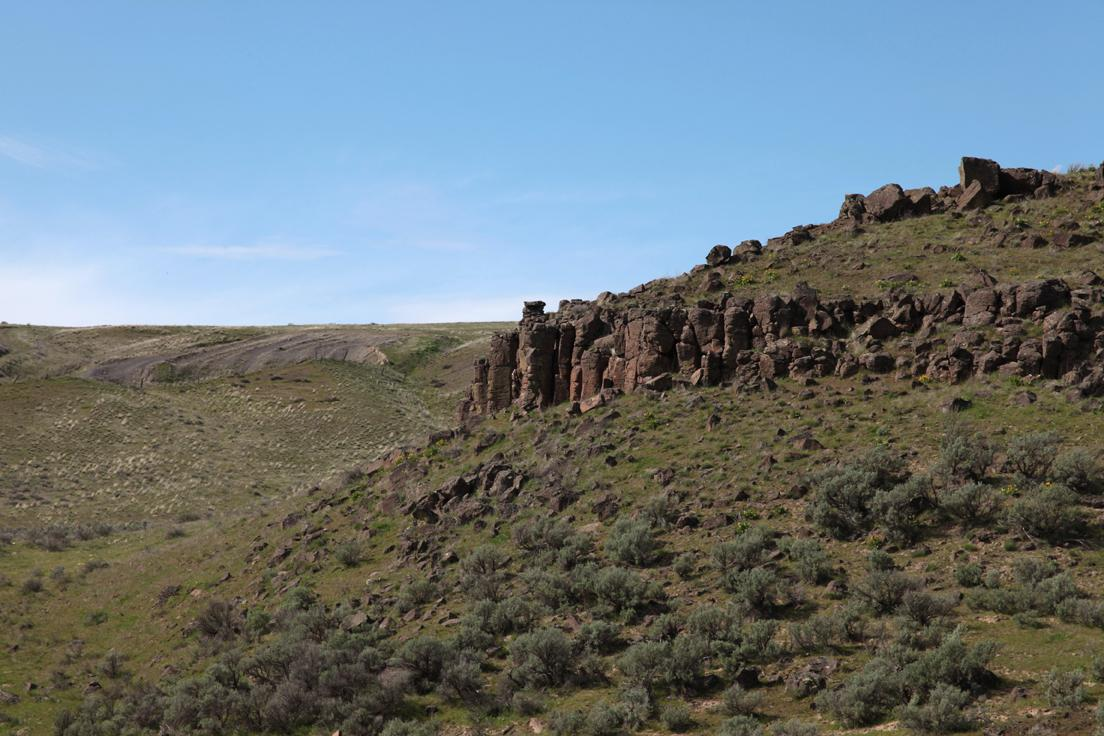 Basalt outcropping with lots of sage in Eastern Washington, USA.