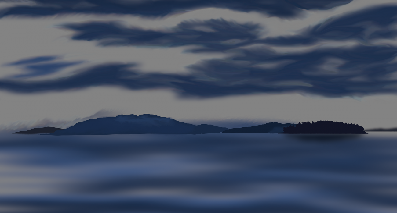 Painting of islands with dim light and scattered clouds